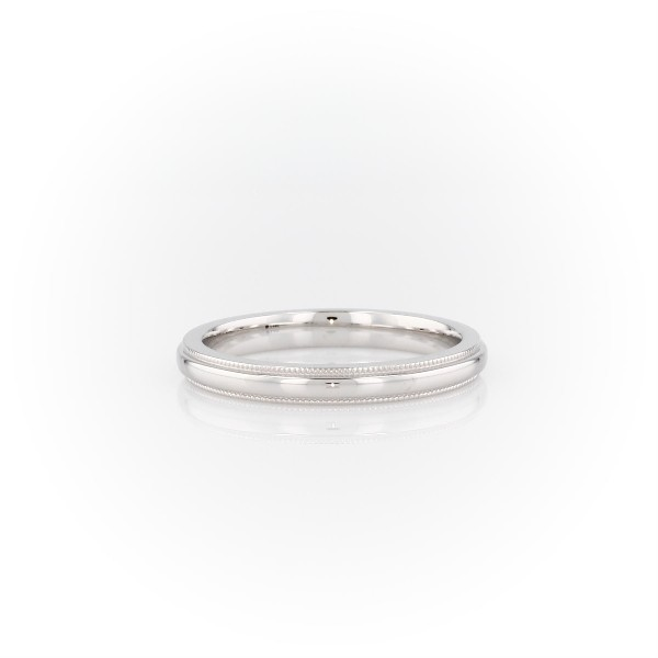 Milgrain Comfort Fit Wedding Ring in 14k White Gold (2.5mm)