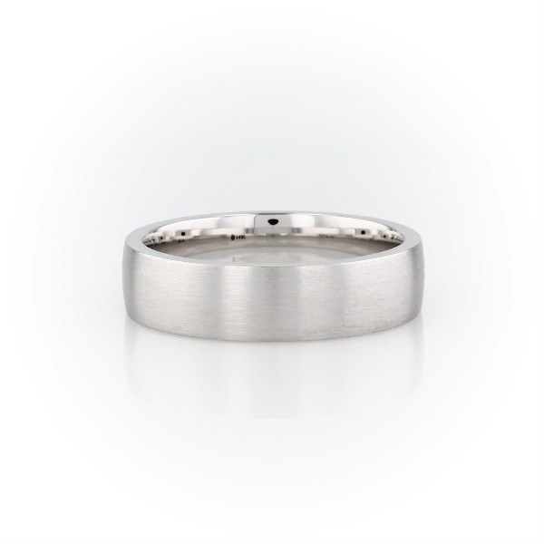 14k 白金低圓頂內圈卜身設計結婚戒指(6毫米)