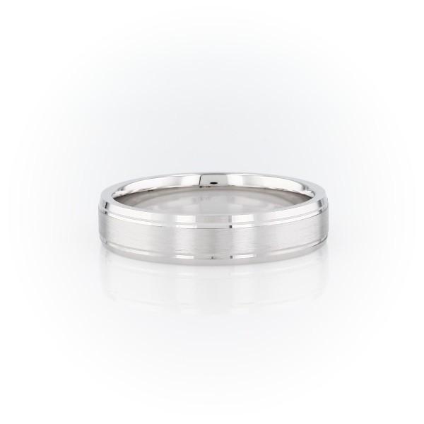 14k 白金雙嵌內圈卜身設計結婚戒指(5毫米)