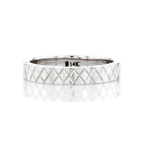 Hand-Engraved Criss-Cross Wedding Ring in 14k White Gold (4mm)
