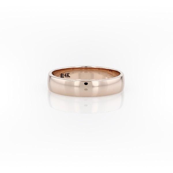 14k 玫瑰金經典結婚戒指(4毫米)