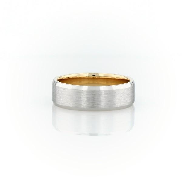 鉑金和 18k 玫瑰金啞光斜邊結婚戒指(6毫米)