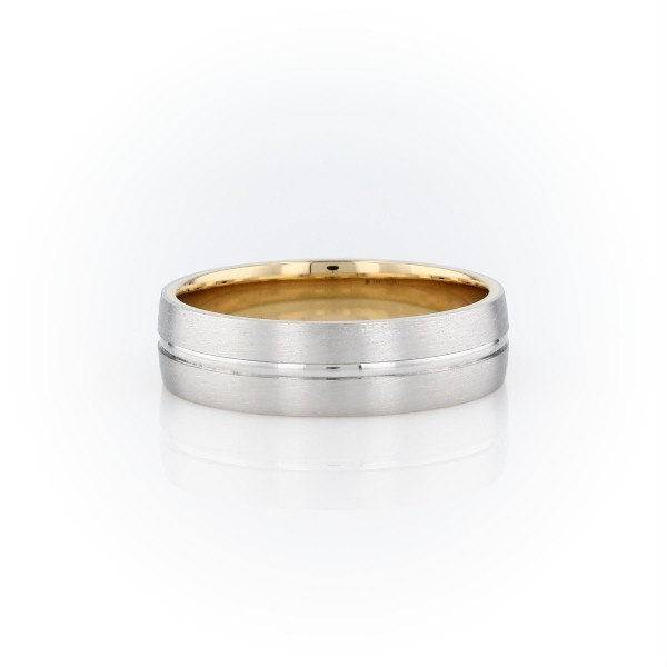 Matte Inlay Wedding Ring in Platinum and 18k Yellow Gold (6mm)