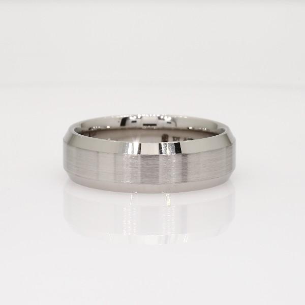 Beveled Edge Matte Wedding Ring In Platinum Mm