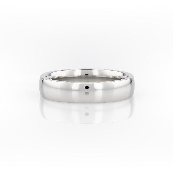 铂金低拱内圈圆弧形设计结婚戒指(5毫米)