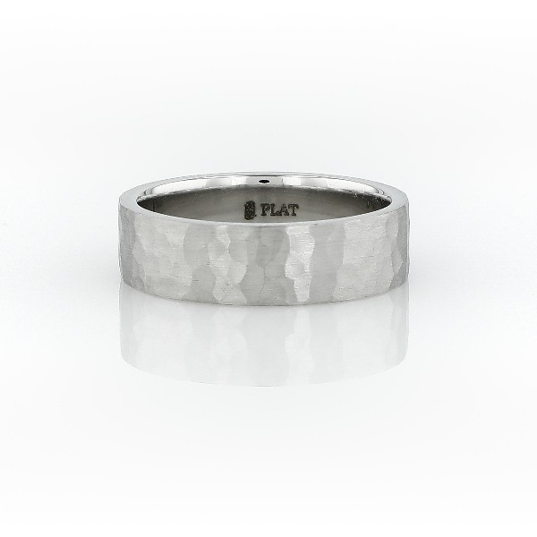 Matte Hammered Flat Comfort Fit Wedding Ring in Platinum (6mm)
