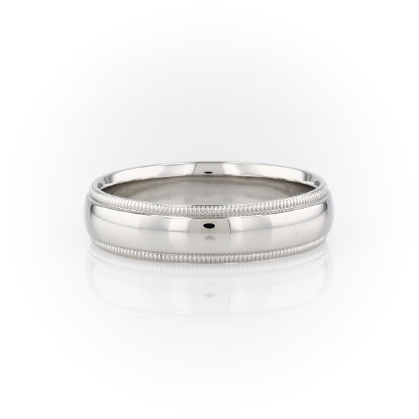 Milgrain Comfort Fit Wedding Ring In Platinum 6mm: Milgrain Comfort Fit Wedding Ring In Platinum (6mm)