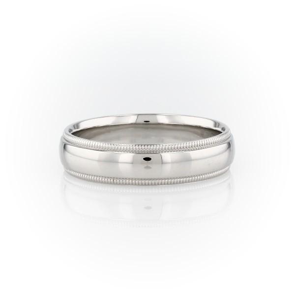 鉑金內圈卜身設計鋸狀結婚戒指(6毫米)