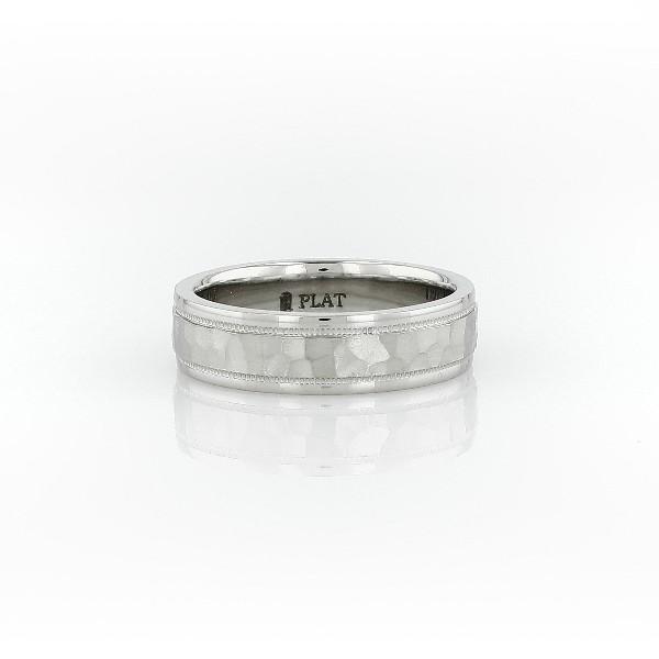 铂金内圈圆弧设计锤饰锯状结婚戒指<br>(5毫米)