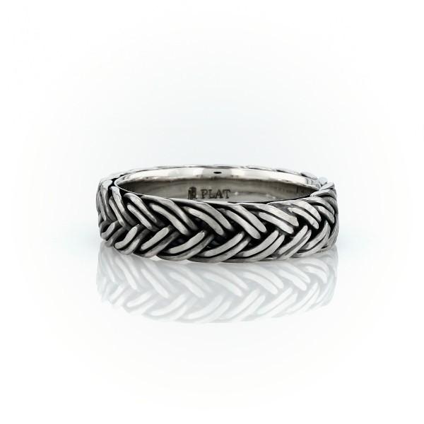 Hand-Braided Wedding Ring in Platinum (5.5mm)