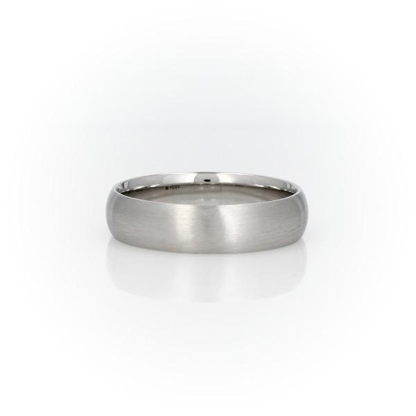 铂金哑光中量内圈圆弧设计结婚戒指(5毫米)