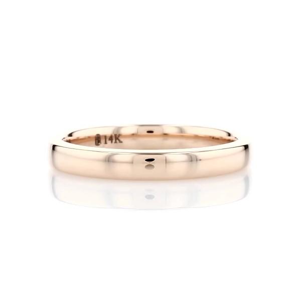14k 玫瑰金天际线内圈圆弧设计结婚戒指(3毫米)