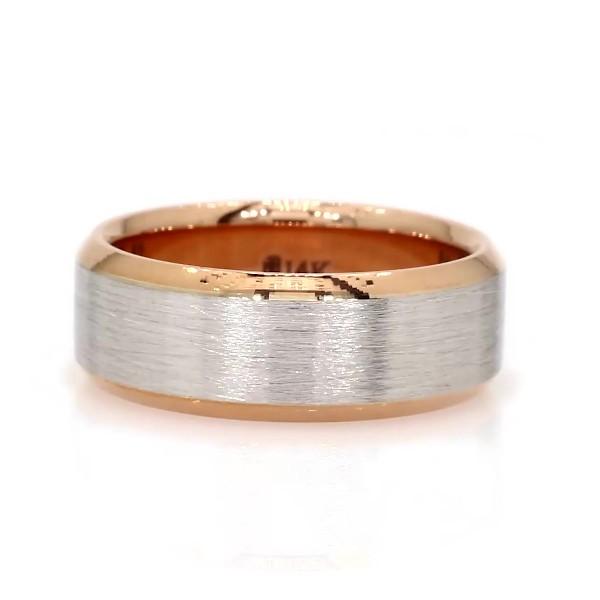 14k 白金及玫瑰金刷面处理配斜边结婚戒指(7毫米)