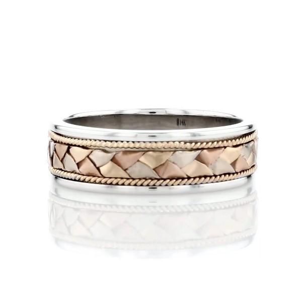 14k 白金、黃金和玫瑰金三色編織結婚戒指(7毫米)