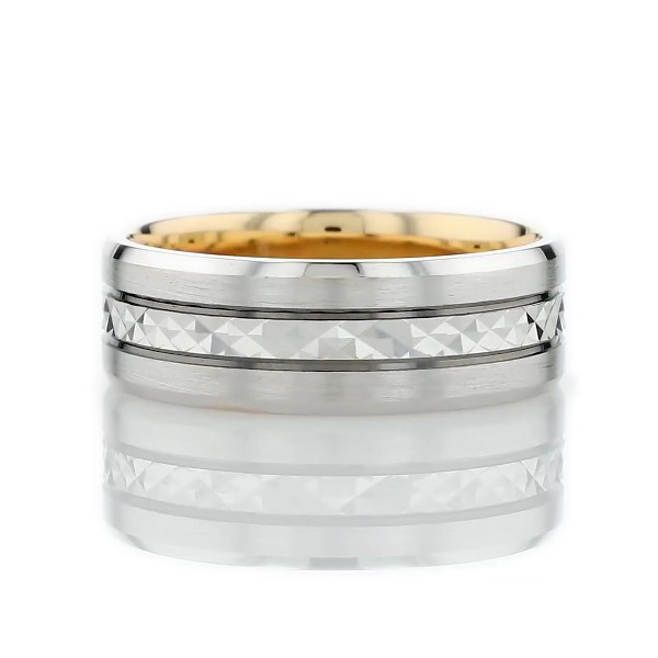 Two-Tone Chevron Inlay Ring in 14k White and Yellow Gold (7mm)