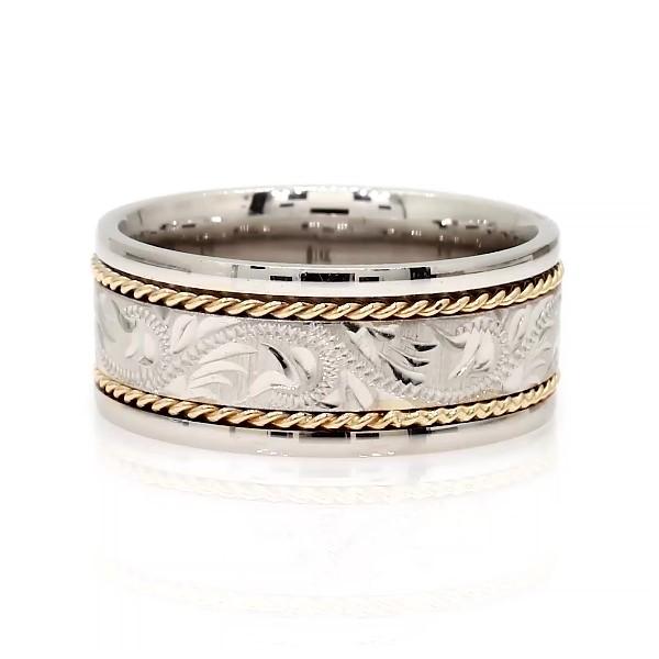 14k 白金及黄金双色涡旋花纹结婚戒指(8毫米)