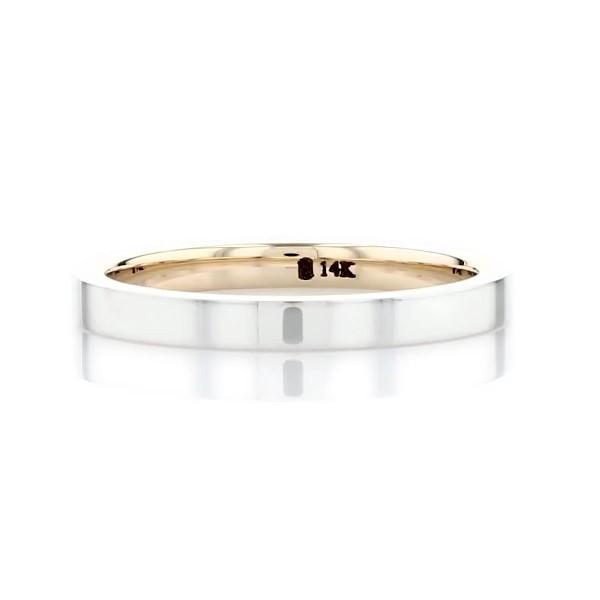 14k 白金和黄金抛光双色内圈圆弧形设计结婚戒指(2毫米)