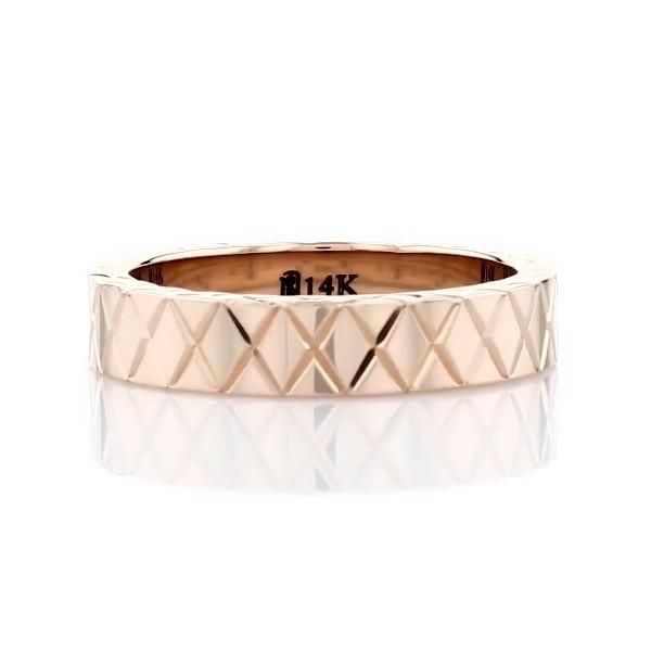 14k 玫瑰金手工交叉刻纹结婚戒指(4毫米)