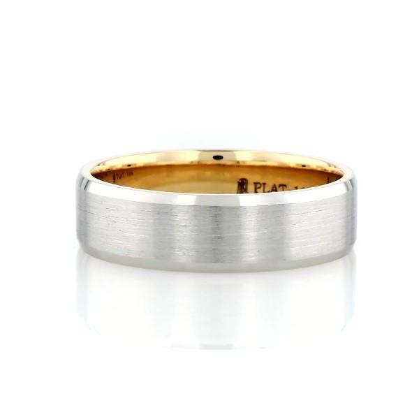 鉑金及 18K 黃金啞光斜邊結婚戒指(6毫米)