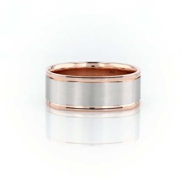 Matte Two-Tone Eurofit Wedding Ring in 14k White and Rose Gold (8mm)