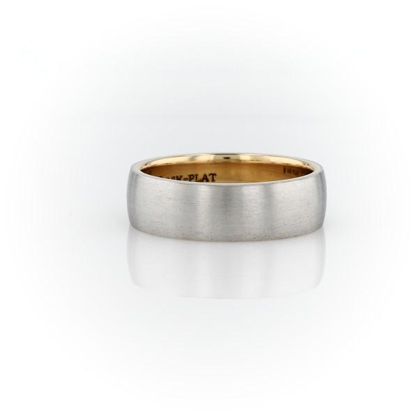 铂金与 18k 黄金哑光经典结婚戒指<br>(6毫米)
