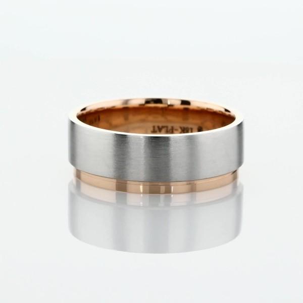 Alianza de bodas mate de borde pulido asimétrico y dos tonos en platino y rosado de 18k (7mm)