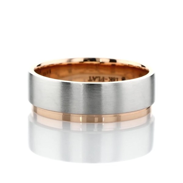 Two-Tone Asymmetrical Polish Edge Matte Wedding Band in Platinum and 18k Rose Gold (7mm)