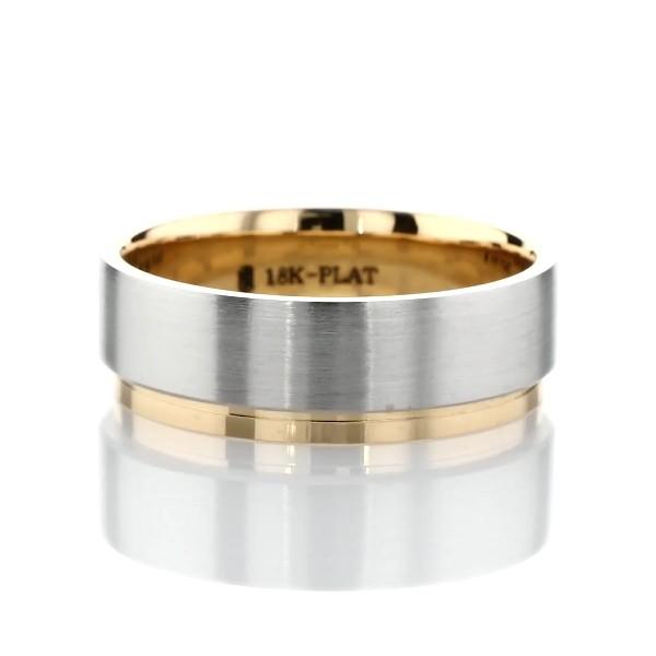 铂金与 18k 黄金双色不规则抛光边缘哑光结婚戒指(7毫米)