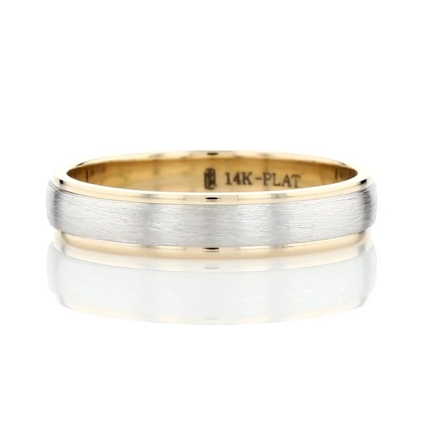 Two-Tone Step Edge Brushed Wedding Ring in Platinum and 14k Yellow Gold (4mm)