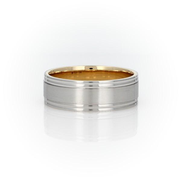铂金与 18k 黄金磨砂拼嵌结婚戒指(7毫米)