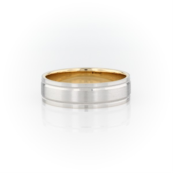 Milgrain Brushed Inlay Wedding Ring in Platinum and 18k Yellow Gold (6mm)
