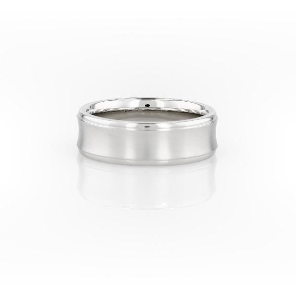 铂金凹形结婚戒指<br>(6毫米)