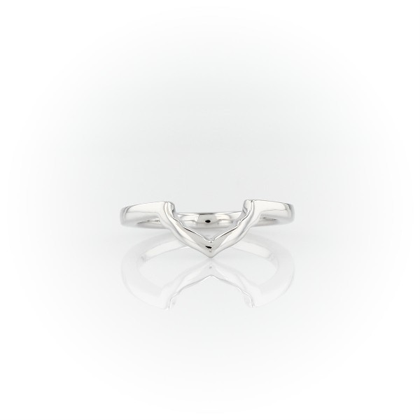 East West Halo Petal Floral Wedding Ring in 14k White Gold
