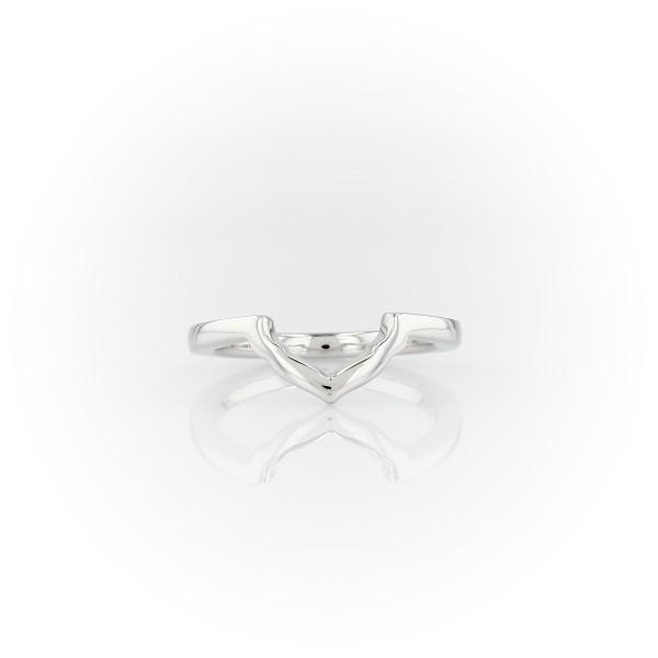 14k 白金橫向花瓣光環結婚戒指