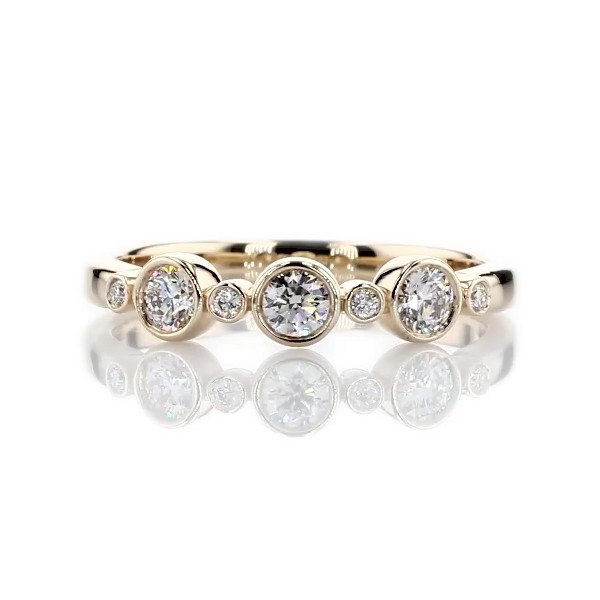 LIGHTBOX Lab-Grown Diamond Round Stackable Ring in 14k Yellow Gold (1/3 ct. tw.)