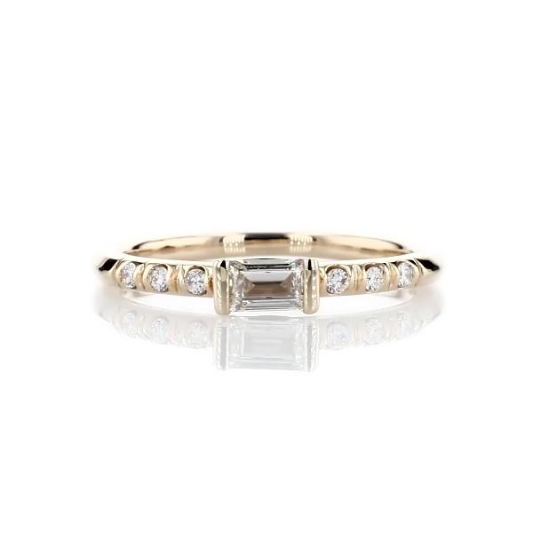 14k 黃金LIGHTBOX 實驗室培育長方形鑽石層疊戒指(1/3 克拉總重量)