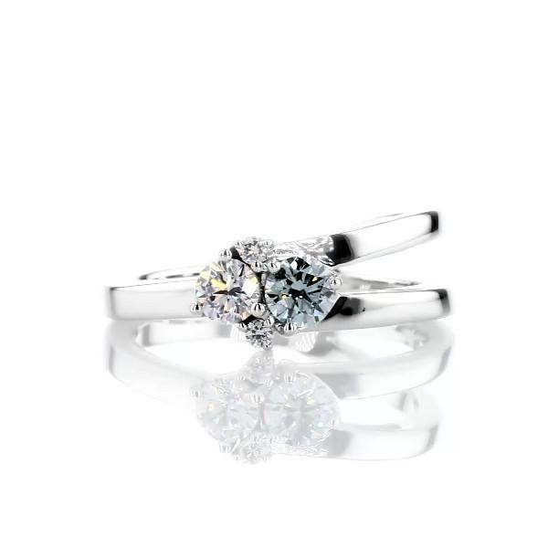 LIGHTBOX Lab-Grown Blue & White Diamond Round Cluster Ring in 14k White Gold (1/2 ct. tw.)