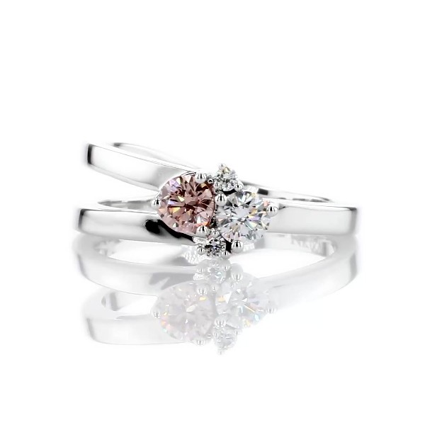 LIGHTBOX Lab-Grown Pink & White Diamond Round Cluster Ring in 14k White Gold (1/2 ct. tw.)
